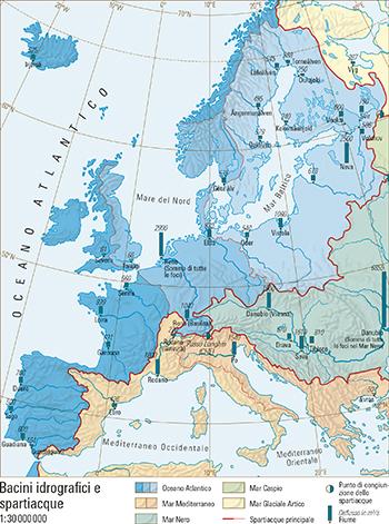 Cartina Muta Bacino Mediterraneo.61 1 Bacini Idrografici E Spartiacque Atlante Mondiale Svizzero