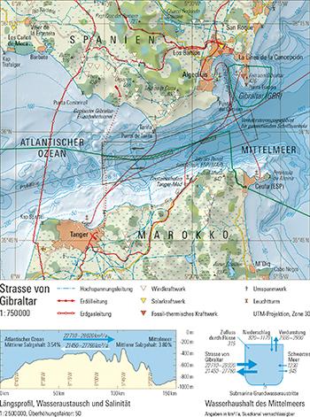 Meerenge Von Gibraltar Karte.96 1 Strasse Von Gibraltar Schweizer Weltatlas