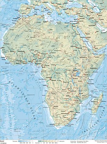 Stumme Karte Afrika.111 1 Relief Schweizer Weltatlas