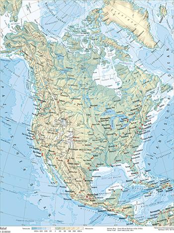 Stumme Karte Nordamerika.153 1 Relief Schweizer Weltatlas